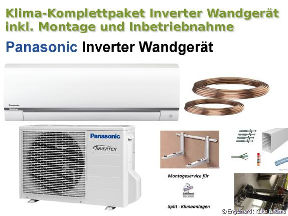 panasonic inverter wandklimaanlage mit montagematerial montage und inbetriebnahme von. Black Bedroom Furniture Sets. Home Design Ideas